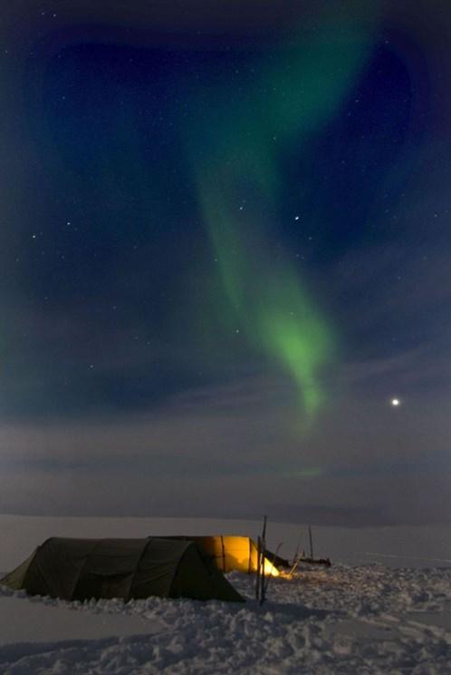 Lowres Noorderlicht Tijdens Een Winterse Oversteek Van Het Finnmarkplateau In Noordelijk Noorwegen